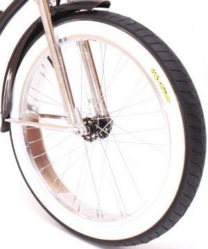 Покрышка Wanda 24x3.0 для велосипеда черная с белой боковиной